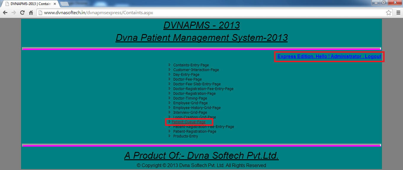 DVNAPMSEXPRESS-2013 | DVNA Patient Queue- Containts