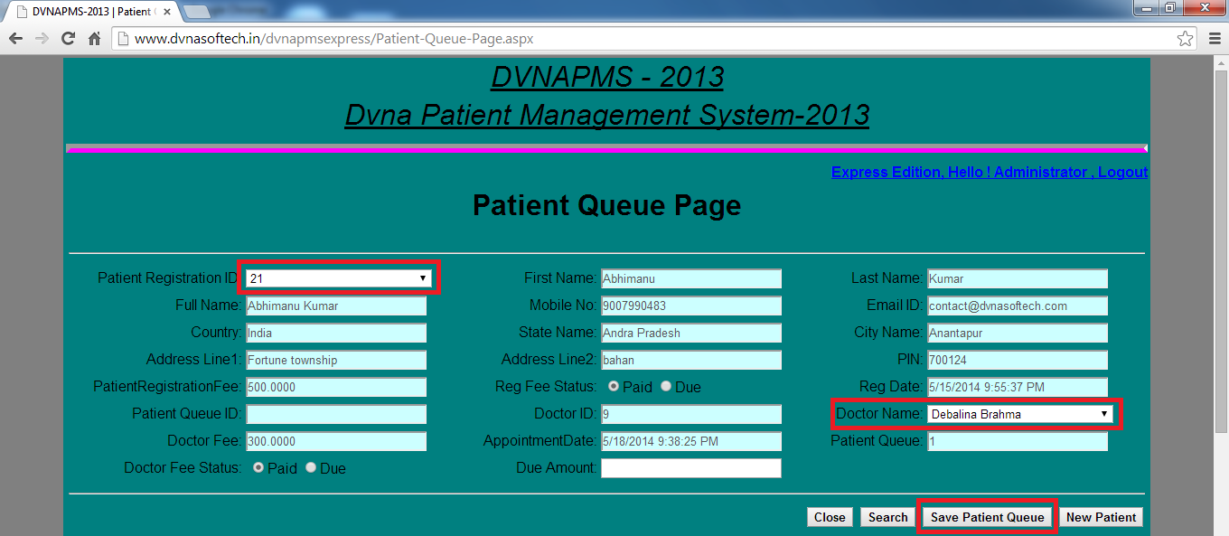 DVNAPMS-2013 | DVNA Patient Queue Instruction Last Name Page